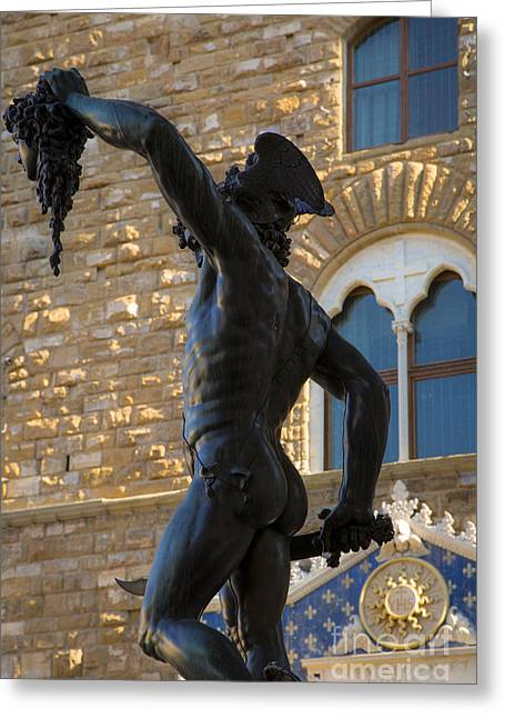 Slay Greeting Cards - Perseus Statue - Florence Greeting Card by Brian Jannsen