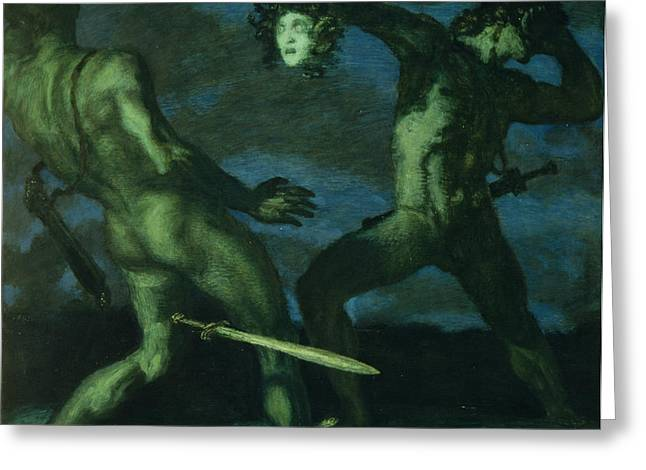 Medusa Greeting Cards - Perseus turns Phineus to Stone by Brandishing the Head of Medusa Greeting Card by Franz von Stuck