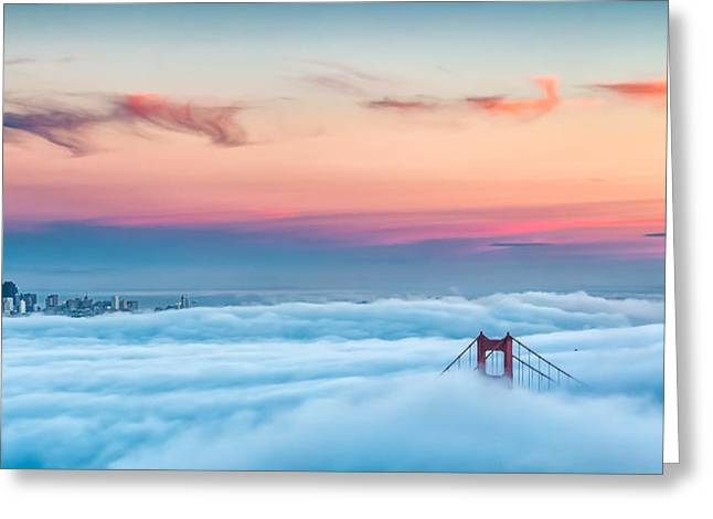 Golden Gate Bridge Greeting Cards - City Above the Clouds Greeting Card by Dave Gordon