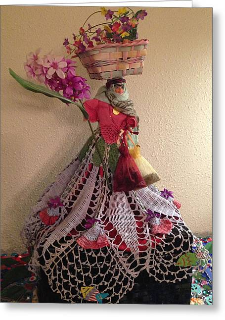 Doll Sculptures Greeting Cards - Persian Doll- Dokhtar Irooni Greeting Card by Sima Amid Wewetzer