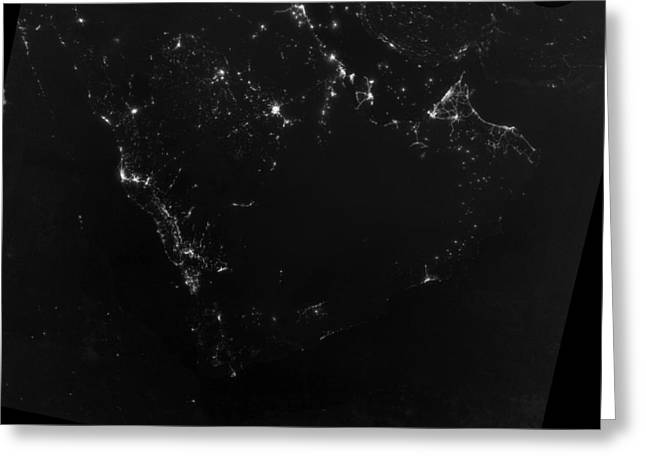 Light And Dark Greeting Cards - Persian Gulf at night, satellite image Greeting Card by Science Photo Library