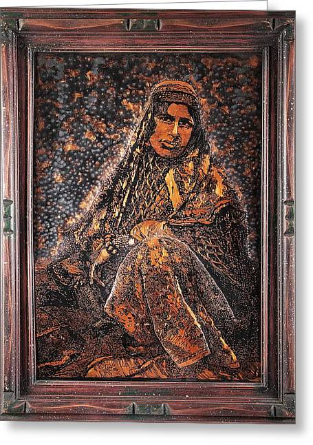 Lady Reliefs Greeting Cards - Persian Nomads Scratching Copper Greeting Card by Persian Art