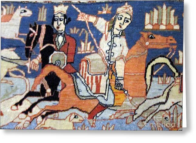 Carpet Tapestries - Textiles Greeting Cards - Persian soldier on horse antique carpet  Photos of Persian Antique Rugs Kilims Carpets  Greeting Card by Persian Art