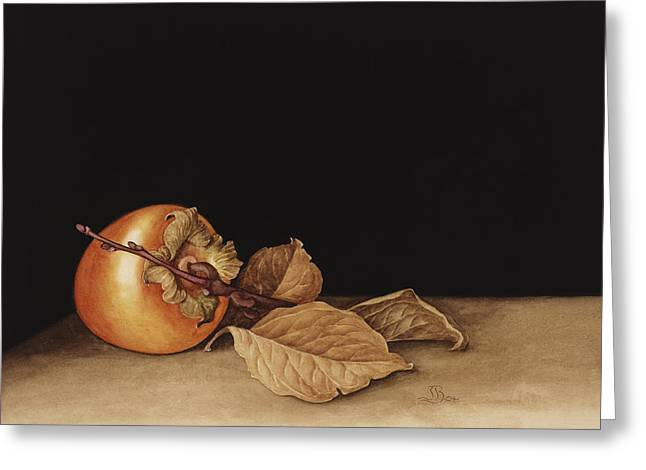 Apple Paintings Greeting Cards - Persimmon Greeting Card by Jenny Barron