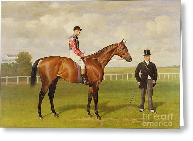 Race Horse Greeting Cards - Persimmon Winner of the 1896 Derby Greeting Card by Emil Adam
