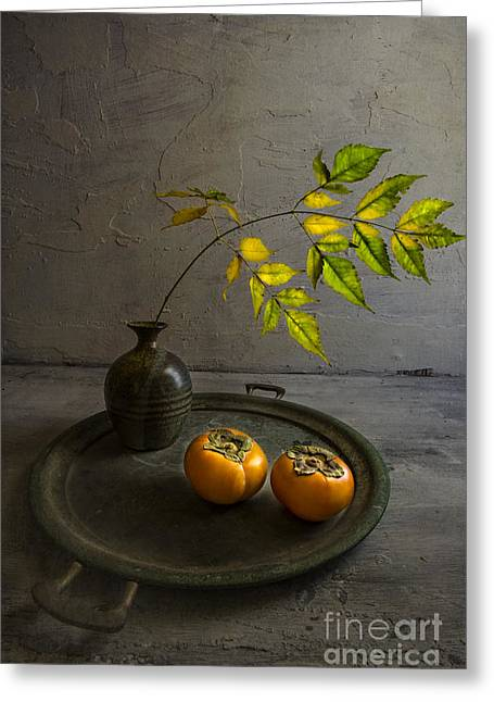 Tabletop Greeting Cards - Persimmons Greeting Card by Elena Nosyreva