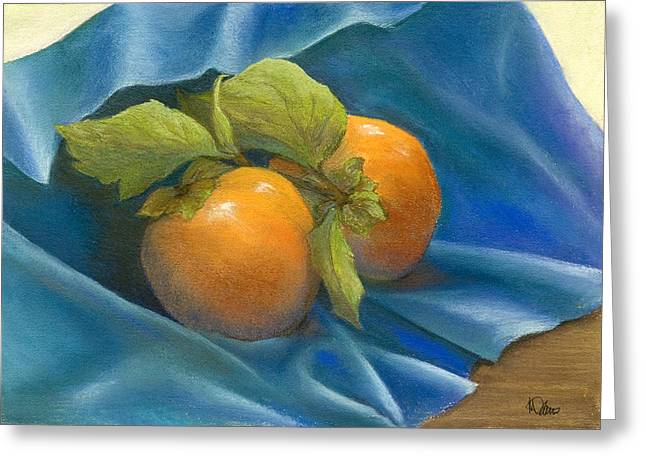 Food And Beverage Pastels Greeting Cards - Persimmons on Blue Greeting Card by Martha J Davies