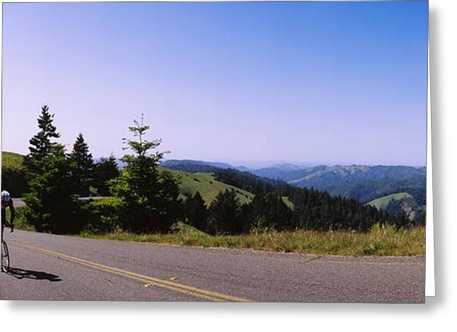 Marin County Greeting Cards - Person Cycling On A Mountain, Mt Greeting Card by Panoramic Images