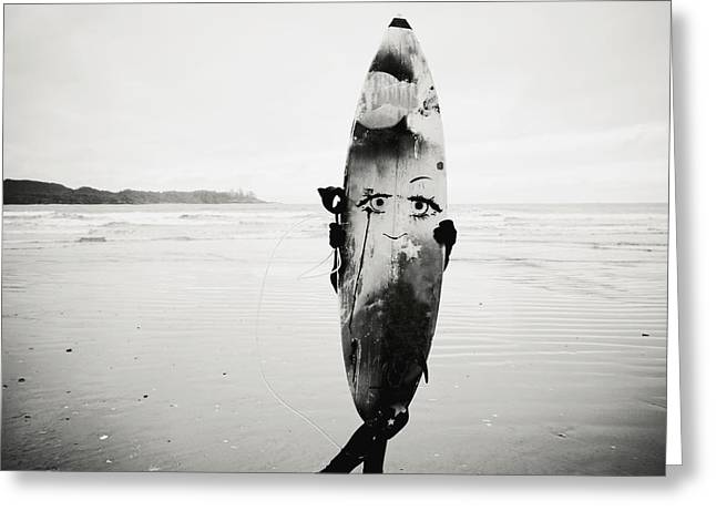 Youthful Greeting Cards - Person Holding Surfboard Greeting Card by Helene Cyr