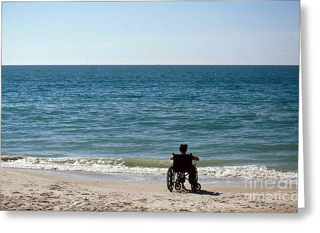 Physically Greeting Cards - Person On Beach In Wheelchair Greeting Card by Mark Newman