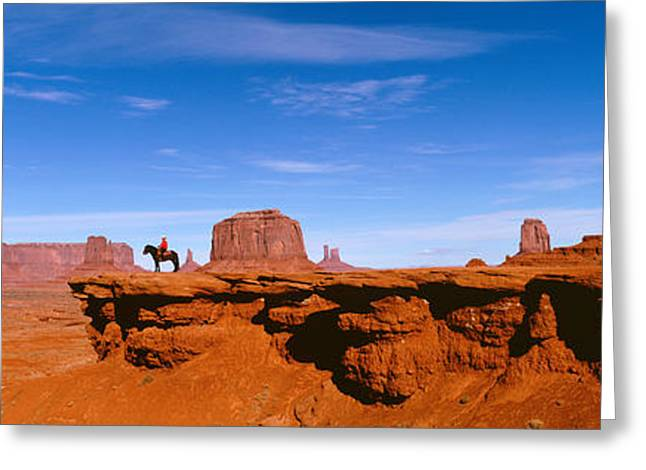 Colorado Plateau Greeting Cards - Person Riding A Horse On A Landscape Greeting Card by Panoramic Images