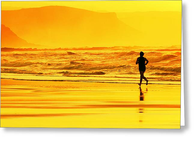 Jogging Greeting Cards - Person Running On Beach At Sunset Greeting Card by Mikel Martinez de Osaba