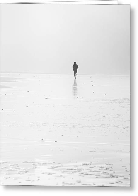 Person Running On Beach Greeting Card by Mikel Martinez de Osaba