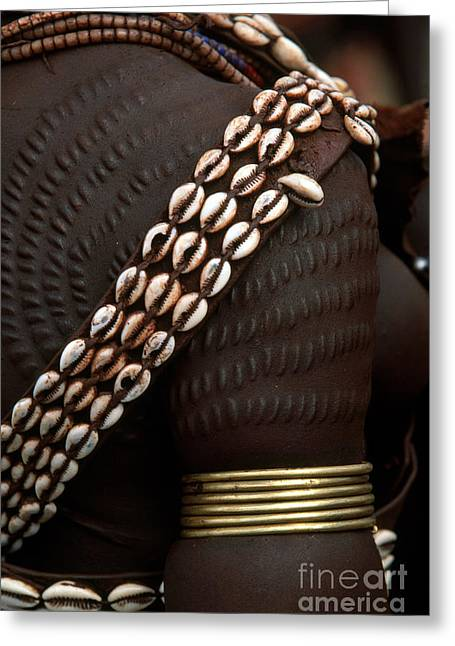 Armband Greeting Cards - Person Showing Cowry Shell Detail Greeting Card by Art Wolfe