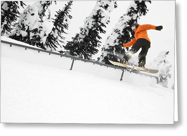 18-19 Years Greeting Cards - Person Snowboarding On A Railing Greeting Card by Leah Hammond