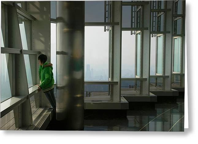 Pudong Greeting Cards - Person Viewing A City From Observation Greeting Card by Panoramic Images