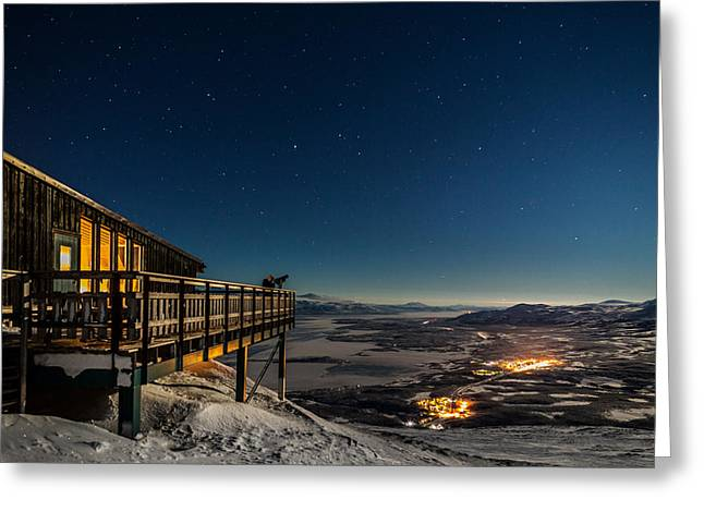 Temperature Greeting Cards - Person Viewing The Stars At The Abisko Greeting Card by Panoramic Images