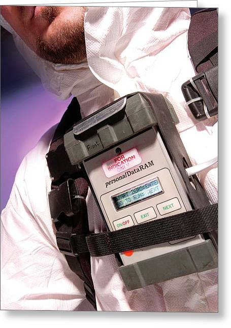 Personal Aerosol Monitor And Alarm Greeting Card by Crown Copyright/health & Safety Laboratory Science Photo Library