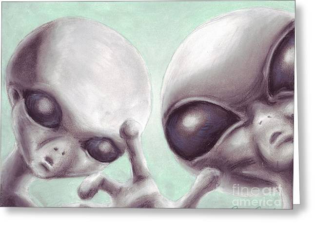 Science Pastels Greeting Cards - Personal Space Invaders Greeting Card by Samantha Geernaert