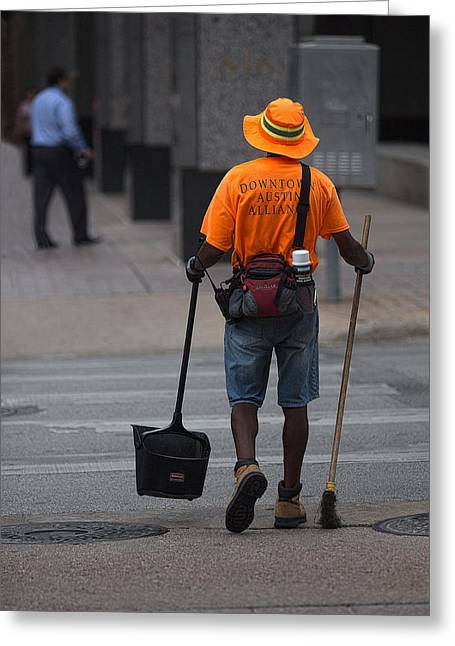 Street Sweeper Greeting Cards - Personal Street Sweeper Greeting Card by Linda Phelps