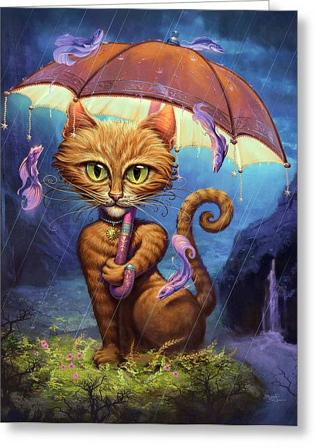 Feline Fantasy Greeting Cards - Personal Sunshine Greeting Card by Jeff Haynie