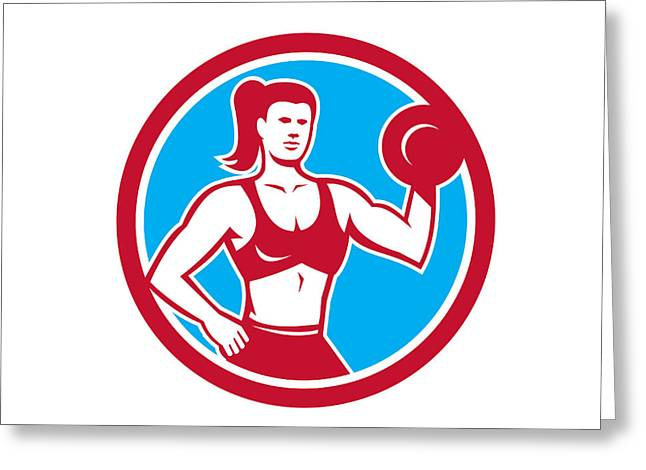 Personal Trainer Greeting Cards - Personal Trainer Female Lifting Dumbbell Circle Greeting Card by Aloysius Patrimonio