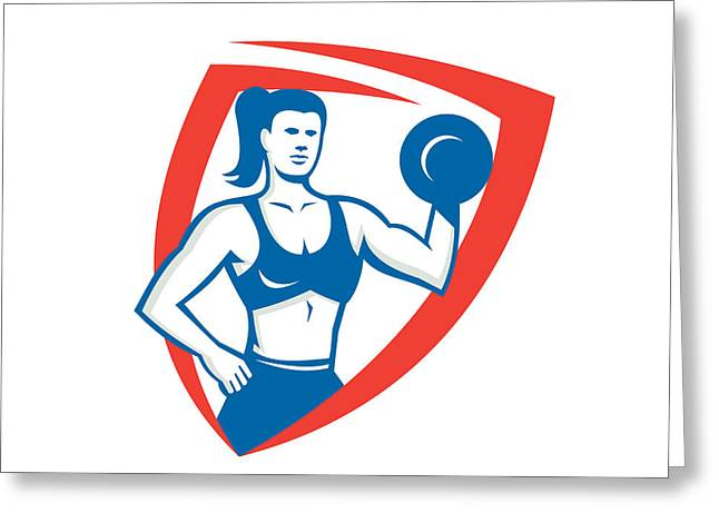 Personal Trainer Greeting Cards - Personal Trainer Female Lifting Dumbbell Retro Greeting Card by Aloysius Patrimonio