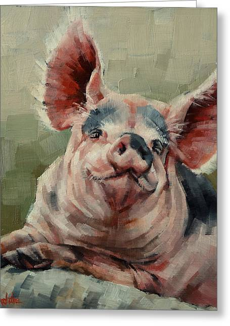 Happy Hog Greeting Cards - Personality Pig Greeting Card by Margaret Stockdale