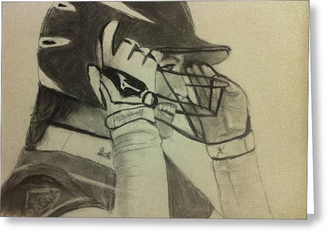 Baseball Uniform Drawings Greeting Cards - Personalized drawing Greeting Card by Paula Soesbe