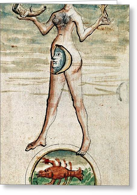Luna Greeting Cards - Personification Of Luna, 15th Century Greeting Card by British Library
