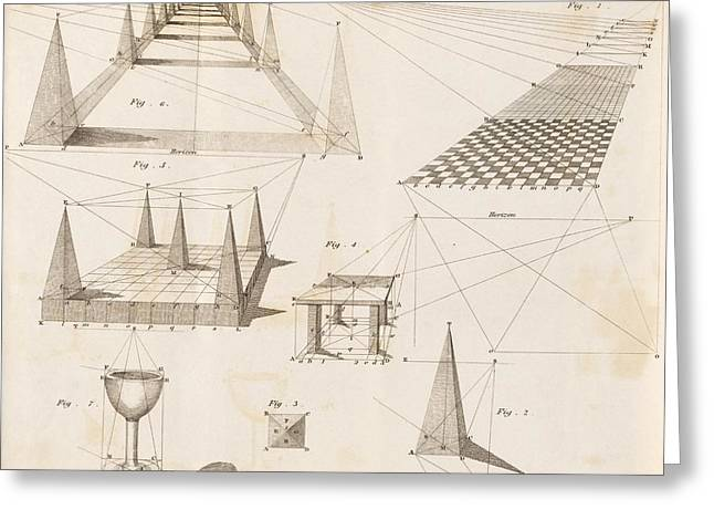 Goblet Greeting Cards - Perspective diagrams, 19th century Greeting Card by Science Photo Library