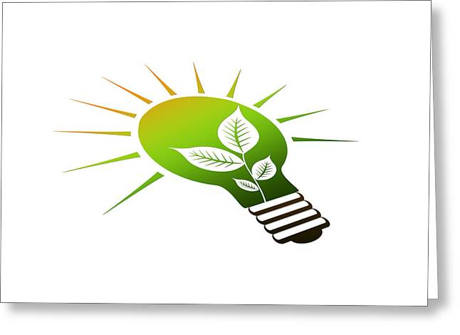 Ecologic Greeting Cards - Perspective Ico Light Bulb Greeting Card by Aged Pixel