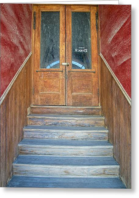 Entryway Greeting Cards - Perspective In a Stairwell to Room 12 Greeting Card by Mary Lee Dereske