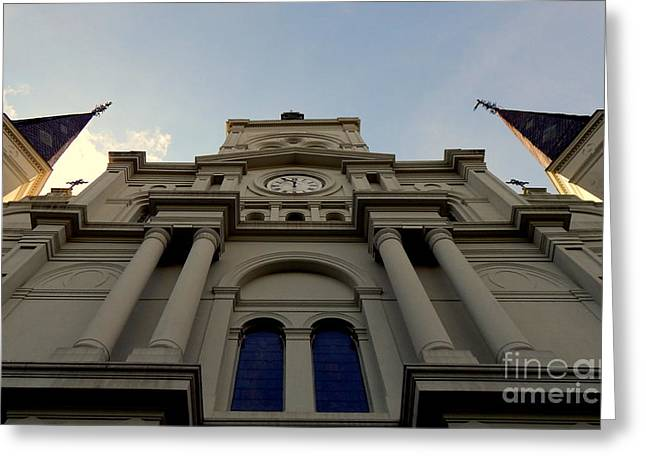 Perspective of Historic Faith At The Saint Louis Cathedral In The French Quarter Of New Orleans Greeting Card by Michael Hoard