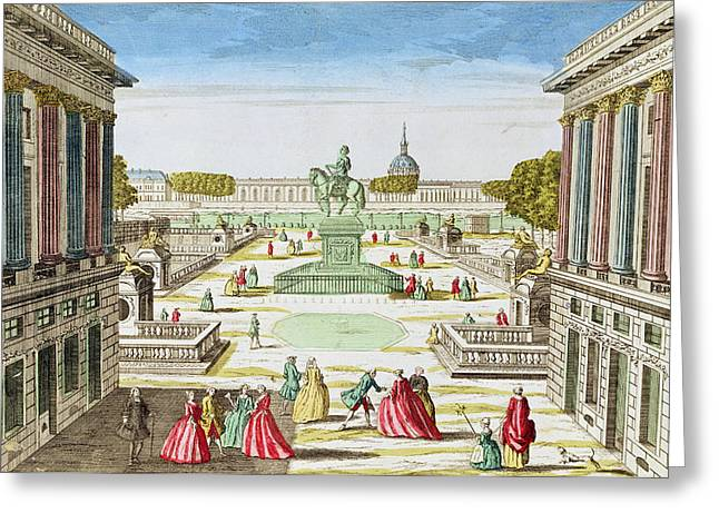 Honore Greeting Cards - Perspective View Of Place Louis Xv From Porte Saint-honore Coloured Engraving Greeting Card by French School