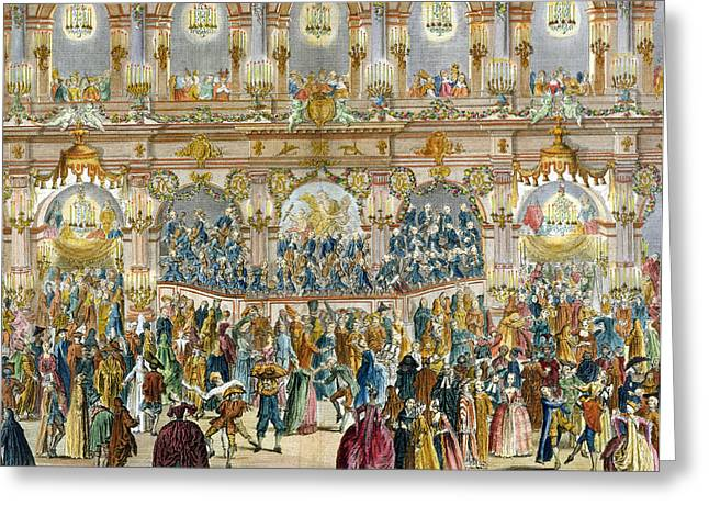 Candelabra Greeting Cards - Perspective View Of The Ballroom Greeting Card by French School