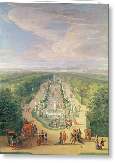 Perspective View Of The Grove From The Galerie Des Antiques At Versailles, 1688 Oil On Canvas Greeting Card by Jean-Baptiste Martin