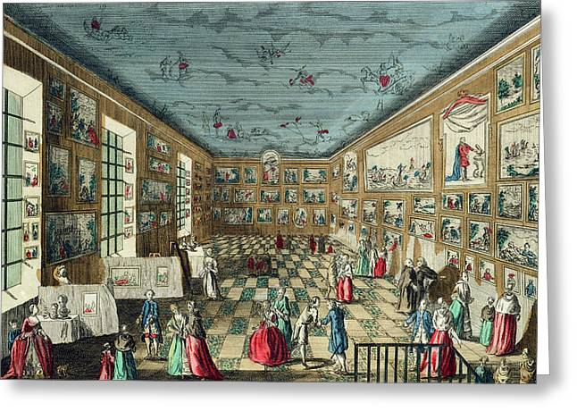 Exhibition Greeting Cards - Perspective View Of The Salon Greeting Card by French School