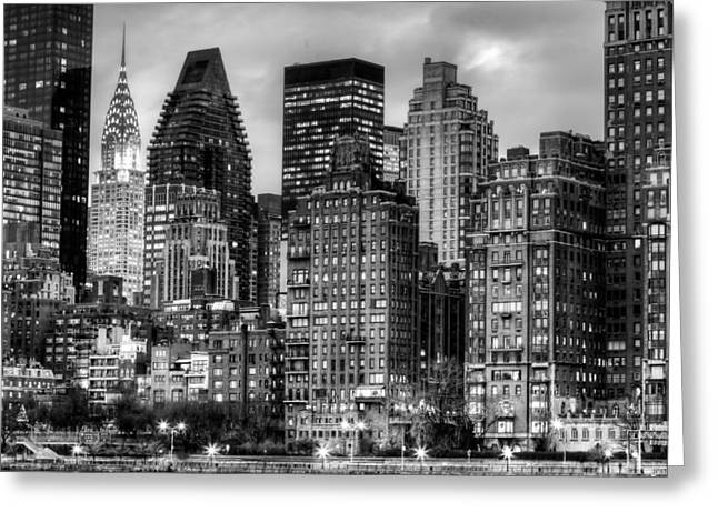 Gotham City Greeting Cards - Perspectives BW Greeting Card by JC Findley