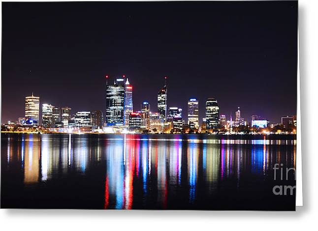 Nikon D800 Greeting Cards - Perth City of Lights Greeting Card by Phill Petrovic