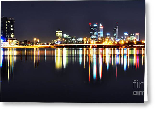 Perth City Skyline At Night Greeting Card by Phill Petrovic