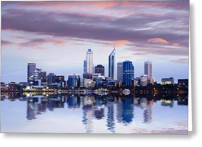 Perth Skyline Reflected In The Swan River Greeting Card by Colin and Linda McKie