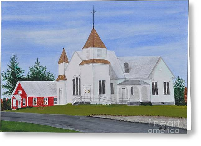 Red School House Greeting Cards - Peru Congregational Church Greeting Card by Sally Rice