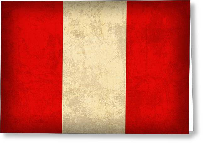 Peru Flag Vintage Distressed Finish Greeting Card by Design Turnpike