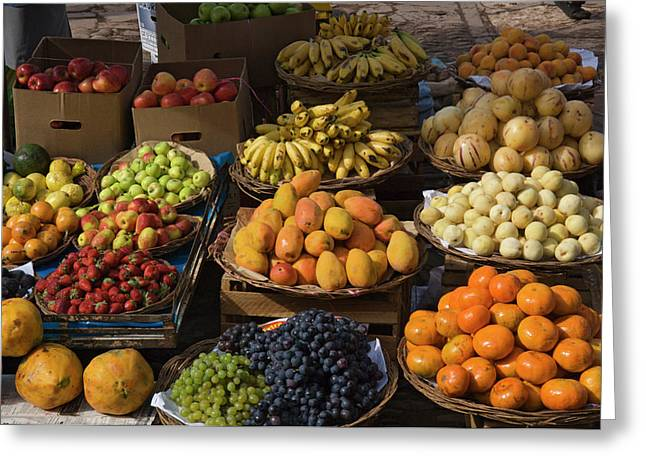 Peru, Pisac, Market Produce For Sale Greeting Card by Jaynes Gallery