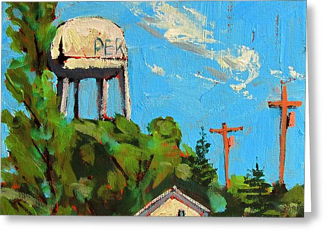 Indiana Landscapes Paintings Greeting Cards - Peru Water Tower on 9th Greeting Card by Charlie Spear