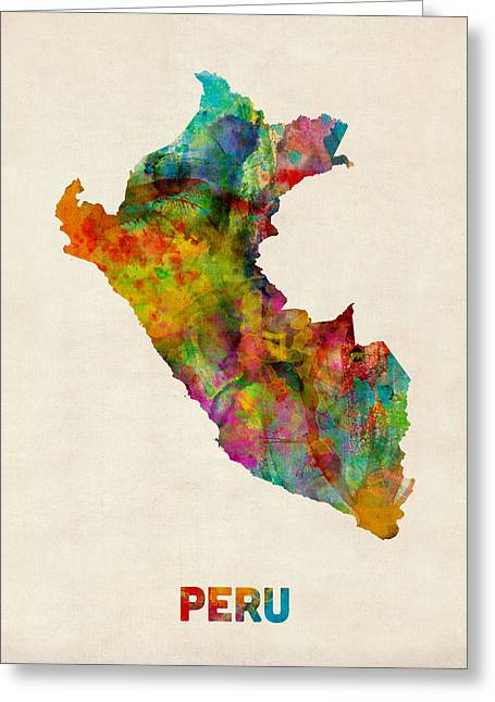 Peru Greeting Cards - Peru Watercolor Map Greeting Card by Michael Tompsett
