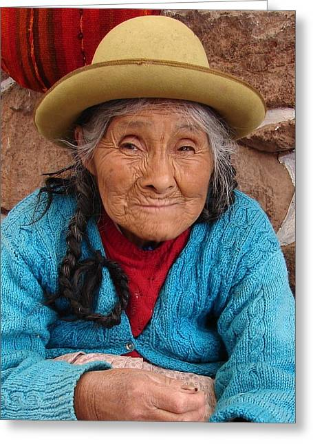 Contest Winner Greeting Cards - Peruvian Beauty Greeting Card by Ramona Johnston