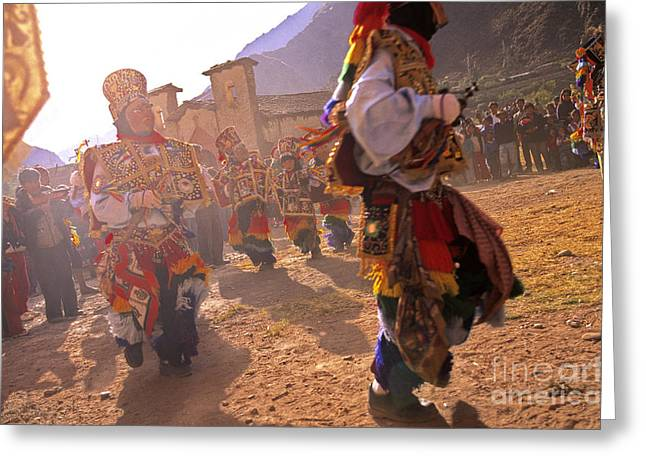 Sacred Body Greeting Cards - Peruvian festival Sacred Valley Peru Greeting Card by Ryan Fox