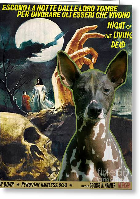 Living Dead Greeting Cards - Peruvian Hairless Dog Art Canvas Print - Night of the Living Dead Movie Poster Greeting Card by Sandra Sij